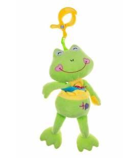 Akuku pakabinamas pliušinis žaislas su patraukiama virvele VARLĖ, A0391