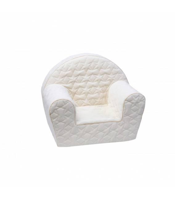 Smėlio spalvos dygsniuotas foteliukas