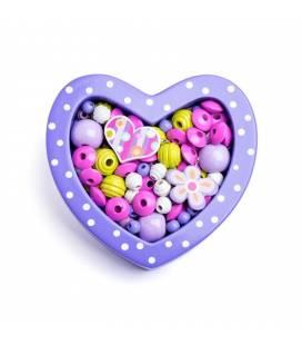 """Mini karoliukų rinkinys """"Violetinė širdelė"""""""