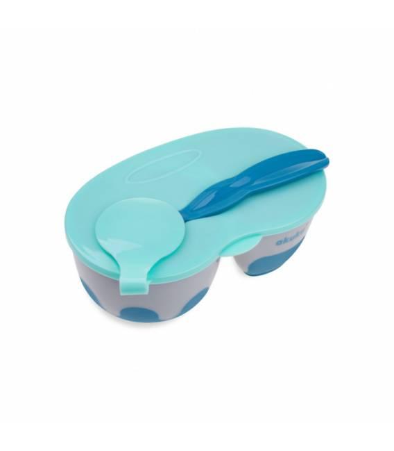 AKUKU 2 dalių dubenėlis su šaukšteliu, A0303-GREY/BLUE