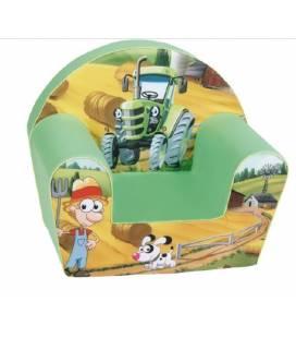 """Vaikiškas minkštas foteliukas - """"Žalias traktoriukas"""""""