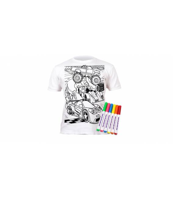 Spalvinami marškinėliai, Mašinos 5-6 metai (plotis 40 cm, ilgis 50 cm)