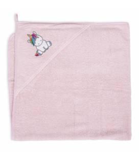 CebaBaby rankšluostis su gobtuvu 100x100 rožinis, vienaragis