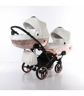 3in1 dvynukų vežimėlis Junama Mirror Satin Duo slim 05