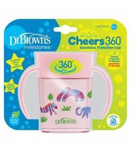 """DR. BROWN'S 200 ml gertuvė """"CHEERS 360"""", 6+ mėn., rožinė"""