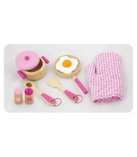Medinis virtuvės indų rinkinys Viga, rožinis, 50116