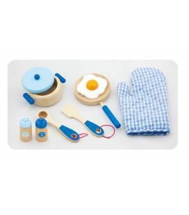 Medinis virtuvės indų rinkinys Viga, mėlynas, 50117