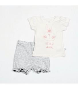 Flamingo kompletukas su šortukais - mergaitei. 68 - 74 cm