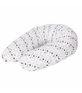 Maitinimo pagalvė dżersej, MULTI 190x35cm, širdelės