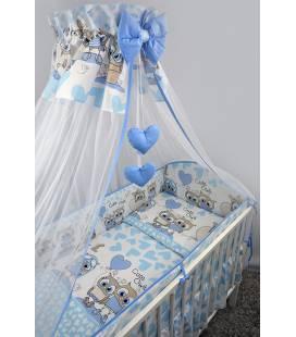 """Ankras 6 dalių patalynės komplektas """"Širdys"""" mėlyna"""